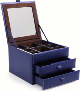 Dower and Hall Large French Blue Faux Jewellery Box - Version 2