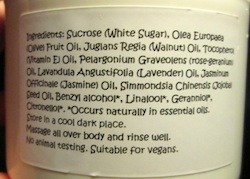 Purely Natural 1 For All Sugar Scrub ingredients