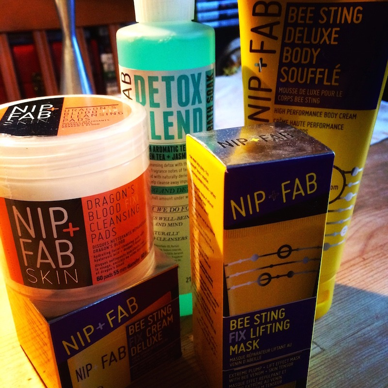 Nip & Fab skincare featuring Body detox, Bee Sting and Dragon's Blood