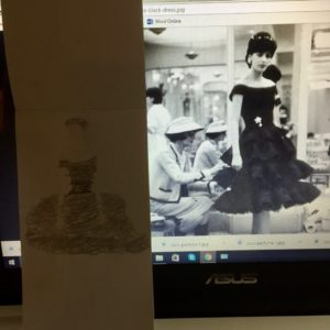 H Little Black Dress illustration work in progress
