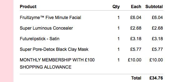Screenshot of Beauty Pie order 1